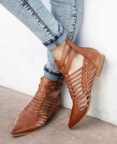 1345235ebf6 Brown Weave Pointed Toe Loafers  LoafersForWomen Flat Ankle Boots