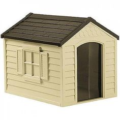 Large Plastic Dog House Outdoor Deluxe Pet Shelter Durable All Weather Kennel #Suncast