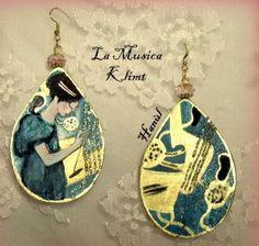 Orecchini dpinti a mano - La musica - Klimt