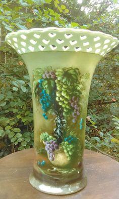 Porcelain Vase/Home decor Vase/Vintage Vineyard Blessings Reticulated Vase by Lisa White  Ask a question by GenesisVintageShop on Etsy