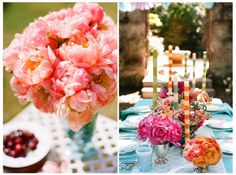Teal and Pink Wedding Details, Pink and Teal Wedding Colors, Pink and Teal Wedding Flowers