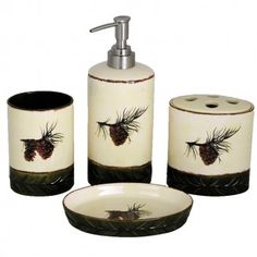 Pine Cone Bathroom Set is marked with beautiful pine cones against an ivory background.- Cabin Bathroom Decor