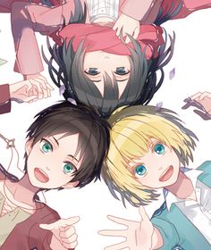 Attack on Titan The three.... they're so cute.... like this at least....
