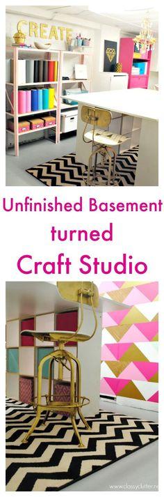 Unfinished Basement turned Craft Studio - http://www.classyclutter.net