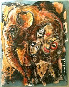 Mamouth blues (Média mixtes),  30x25 cm par Doudoudidon peinture et collage sur film radio médical  de récupération Signé Doudoudidon / Loïc Tarin