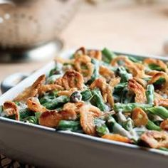 """Campbells Green Bean Casserole-- """"This traditional casserole made with cut green beans, cream of mushroom soup, and French fried onions is the perfect addition to your holiday table."""" — Campbell's Kitchen"""