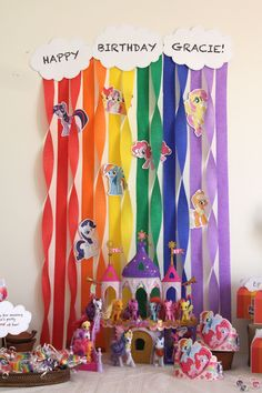 Gracie's My Little Pony Rainbow Birthday Party - streamer decorations