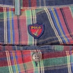POLO RALPH LAUREN Blue/Red/Green Crest Plaid Madras Golf Casual Shorts Size 36W #PoloRalphLauren #CasualShorts