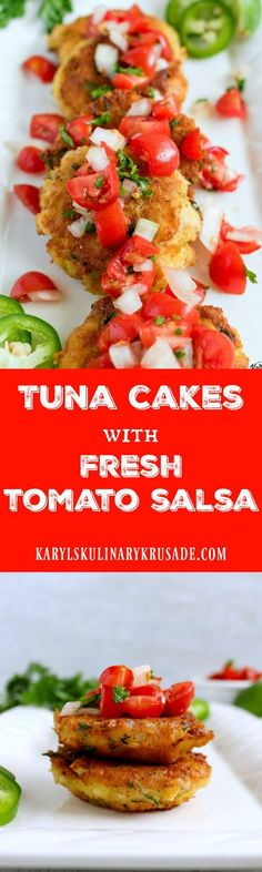 Tuna Cakes with Fresh Tomato Salsa. Perfect for a lunch or light dinner, these tuna cakes will satisfy your appetite. The pan-fried tuna cakes are topped with a delicious, light and refreshing tomato salsa that gets better as it sits. #tuna #seafood #tomatoes #salsa #panfried #tunacakes #tunacake #karylskulinarykrusade