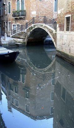 Mirrored Bridge Venice Italy
