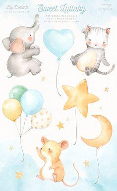 Baby Illustration, Watercolor Illustration, Illustrations, Watercolor Sea, Watercolor Animals, Animal Nursery, Nursery Art, Baby Scrapbook, Cute Baby Animals