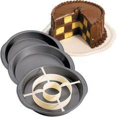 Wilton Checkerboard Cake Pan Set - 3 Non-Stick Steel Baking Tins & Divider | eBay