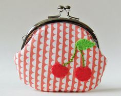 Coin purse cherries on pink scalloped stripes by oktak on Etsy, $30.00
