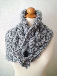Cowl Neck Warmer Scarf Grey Handknit Cabled Warm Extra Thick in Soft Wool via Etsy