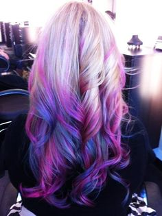 Purple pink and blue hair chalk. Awesome.