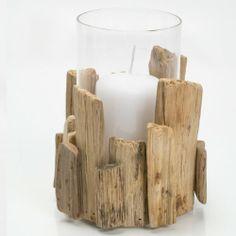 """Windlicht """"Driftwood"""", in Grau, aus Treibholz, mit Glaseinsatz, Ø 15 cm, Höhe: 17 cm Mon Decor GmbH,http://www.amazon.de/dp/B00HZII3UE/ref=cm_sw_r_pi_dp_RYMBtb1YEX5X48JG"""