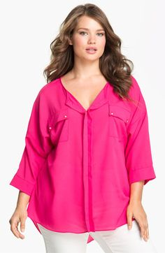 Tbags Los Angeles Patch Pocket Blouse (Plus) available at #Nordstrom