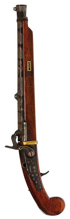 Japanese 28 bore percussion pistol, 19th century, signed Noda Gorobie Saku, swamped octagonal sighted barrel engraved with clouds and a dragon, back-action iron lock, and brass mounts (barrel-bolt and ramrod missing), 12in. (30.5cm.).
