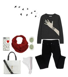 """""""Birds"""" by juliehalloran ❤ liked on Polyvore featuring Alice + Olivia, Cheap Monday, Elizabeth and James, Converse, Black Rivet and Acne Studios"""