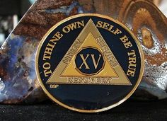 Blue Silver Gold Tri Plate Alcoholics Anonymous 15 Year Medallion Coin Chip | eBay