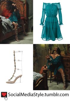 "Buy Rihanna's ""Wild Thoughts"" Video Turquoise Off-The-Shoulder Dress and Gladiator Sandals, here!"
