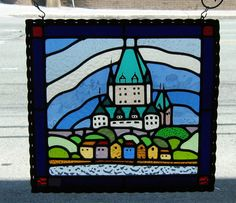 free shipping  STAINED GLASS PANEL   Castle par creationeuropeenne, $360.00