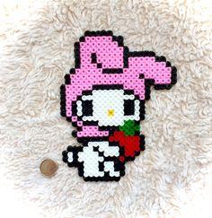 My Melody Sanrio perler beads by KawaiiKel Pearler Bead Patterns, Bead Loom Patterns, Perler Patterns, Pearler Beads, Beading Patterns, Perler Bead Disney, Perler Bead Art, Pixel Beads, Fuse Beads