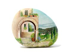 Painted stone sasso dipinto a mano. Tuscan by OceanomareArt