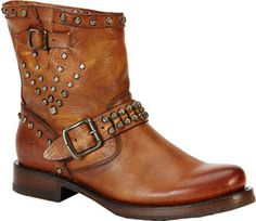 Women's Frye Veronica Stud Moto Short Boot - Cognac Leather Boots   <> @kimludcom <> www.kimlud.com