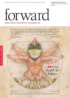 Vitruvian Cy - Cover for the Summer 2015 of Forward Magazine. Illustrated by Laszlo Kubinyi