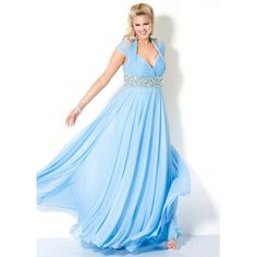vintage plus size clothing   Vintage Empire Halter Floor Length Beaded Chiffon Prom, Party Dresses ...