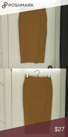 """ASOS Midi Pencil Skirt - Camel, Size 2 Jersey knit midi high waisted pencil skirt with slit in center back. Elastic waistband. Comes down to mid calf on me and I'm 5' 3"""". Worn once. US size 2. Color is """"camel"""". ASOS Skirts Midi"""