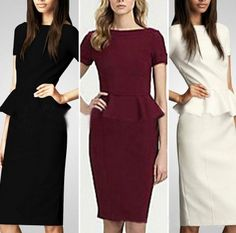 Sexy Women Peplum Short Sleeve Pencil Slim Wear to Work Business Office OL Dress Club Dresses, Plus Size Dresses, Party Dresses, Buy Dress, Peplum Dress, Pencil Dress, Bodycon Dress, Patterned Work Dresses, Summer Dresses For Women