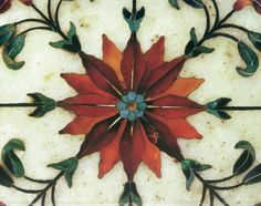 Flowers amber, amethyst, coral, agate, turquoise and carnelian inlaid in Indian Makrana marble, Taj Mahal, India, 1634