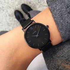 Minuit Mesh Black Black/Black - Watch - Ideas of Watch - Minuit Mesh Full Black Trendy Watches, Cute Watches, Elegant Watches, Beautiful Watches, Watches For Men, Black Watches, Cheap Watches, Women's Watches, Accesorios Casual