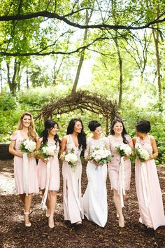 Camrose Hill farm. pink bridesmaids dresses Photos by Janelle Elise photography