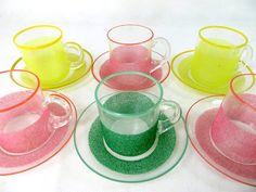 Retro Glass Demitasse Set Mid Century Set 6 Harlequin by keepsies