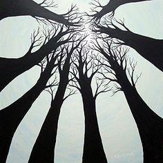 Kunstenaar Albert van Loon: Acht bomen II, 2004, acrylverf op doek