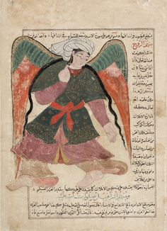 Mohammed (on the right, astride Buraq) and the Angel ...