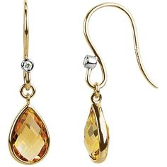 14k Yellow Gold Citrine & Diamond Earrings, Women's