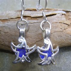 Items similar to Sea Glass Earrings: seaglass Locket earrings Jewelry Starfish on Etsy Glass Earrings, Sea Glass Jewelry, Starfish, Pouch, Gems, Velvet, Personalized Items, Unique Jewelry, Handmade Gifts