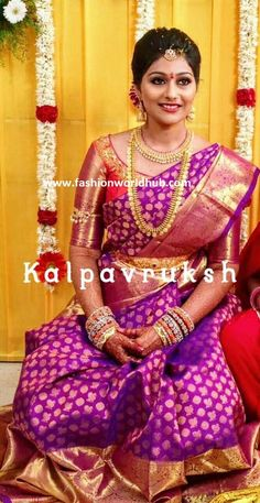 Simple and Elegant South Indian Bride - South Indian bride on budget Pattu Sarees Wedding, Wedding Saree Blouse Designs, Pattu Saree Blouse Designs, Indian Bridal Sarees, Half Saree Designs, Wedding Silk Saree, Silk Sarees, Wedding Saree Collection, Indiana