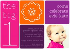 pancakes pajamas pinwheels first birthday party invitation in bold colors of pink, orange and purple