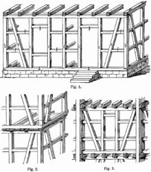 Illustration of timber framing from the Lexikon der gesamten Technik (1904) by Otto Lueger (German engineer, 1843-1911)