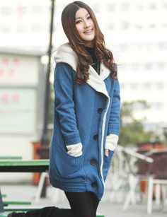 Thick Loose Fit Longline Knitted Coat in Casual Style