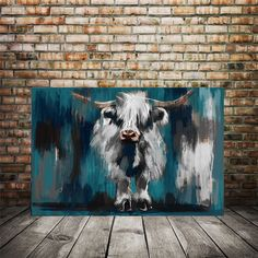 highland cow prints - decor for any room Large Art Prints, Large Canvas Art, Modern Art Prints, Large Wall Art, Canvas Art Prints, Cow Canvas, Highland Cow Painting, Highland Cow Art, Highland Cattle