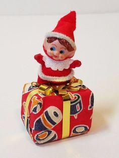 Vintage Christmas Tree Decoration Ornament Pixie Elf Felt Cotton Present 1950s