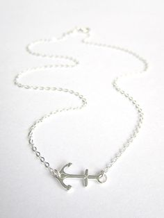 Sideways Anchor Necklace little sterling silver by Keepitclose, $26.00