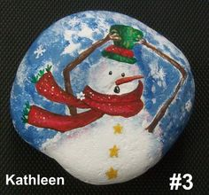Snowman in the wind rock. Handpainted with acrylic.