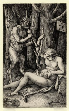 Durer - The Satyr Family: 1504 by Albrecht Dürer - engraving (Cleveland Museum of Art, Cleveland, Ohio) Viewed as part of the Exhibition: Dürer's Women: Images of Devotion & Desire (August, 2014)